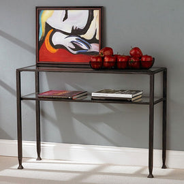 Black Metal Console Sofa Table with Glass Top and Shelves