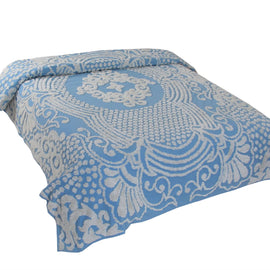 Queen size 100% Cotton Tufted Chenille Bedspread with Blue Damask Medallion