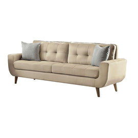 Modern Beige Fabric Upholstered Mid-Century Style Sofa Couch