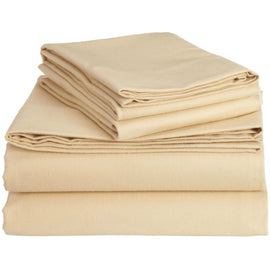 Queen size 100-Percent Cotton Velvet Sheet Set in Chamois Color