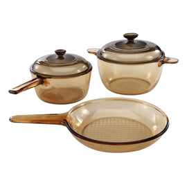 Classic Amber 5-Piece Glass Stovetop Safe Cookware Set - G Street Furniture Rockville Free delivery maryland dc virginia