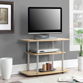 Modern TV Stand Light Oak Wood Finish with Sturdy Stainless Steel Poles