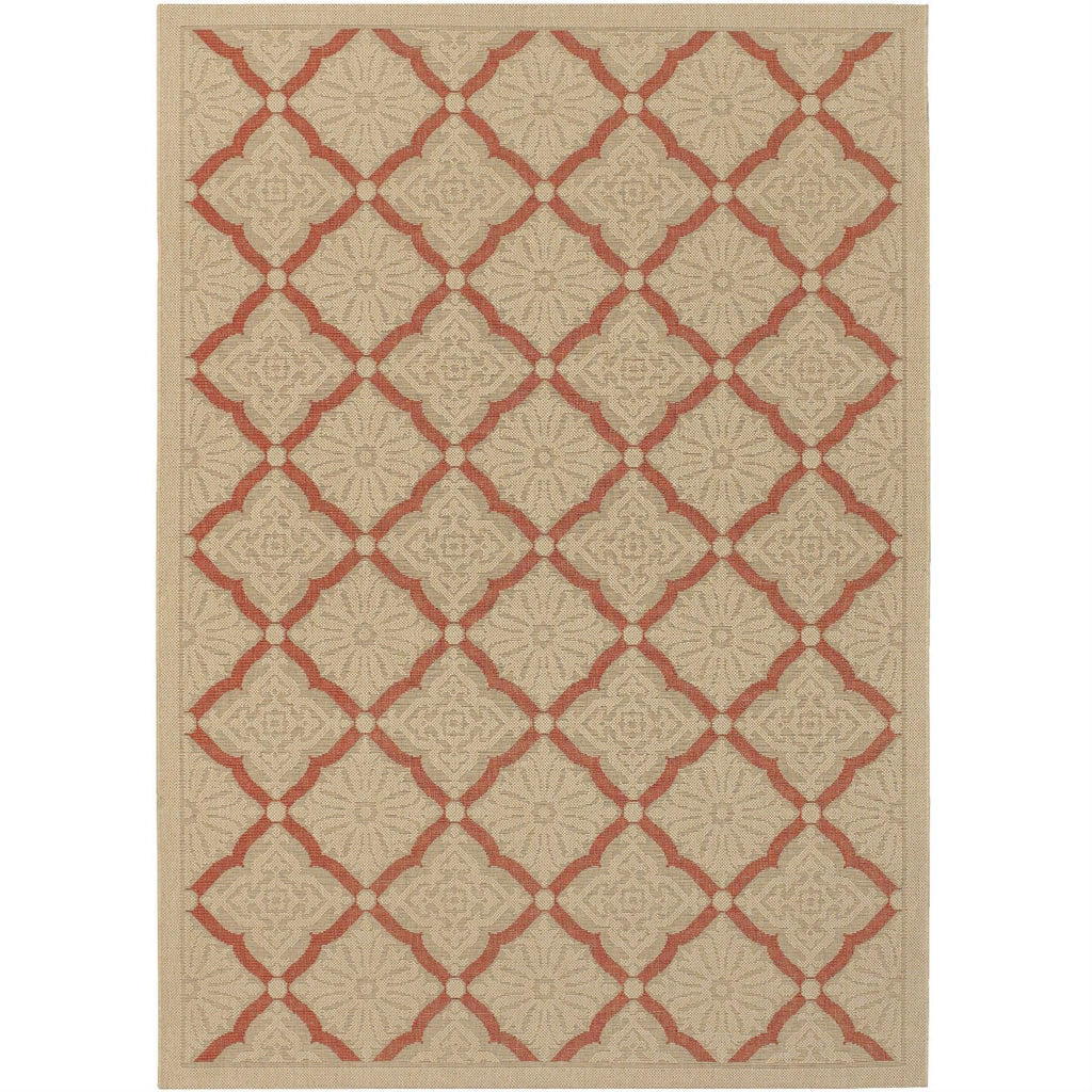 2' x 3'7 Terracotta and Cream Lattice Indoor Outdoor Area Rug