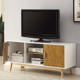 Modern 47-inch Solid Wood TV Stand in White Finish and Mid-Century Legs - G Street Furniture Rockville Free delivery maryland dc virginia
