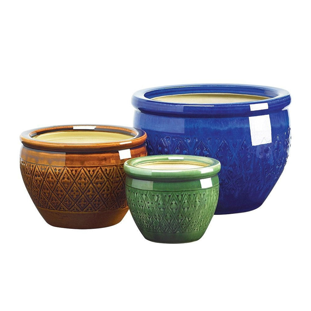 3 Piece Ceramic Planter Set in Azure Topaz and Peridot - G Street Furniture Rockville Free delivery maryland dc virginia