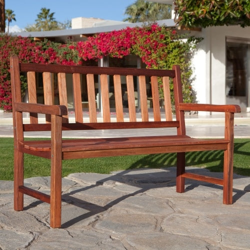 4-Foot Outdoor Wood Patio Garden Bench with Armrest - G Street Furniture Rockville Free delivery maryland dc virginia