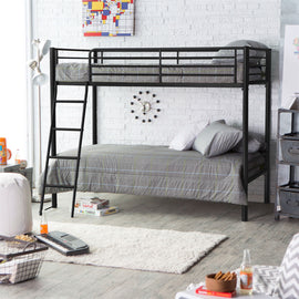 Twin over Twin Bunk Bed in Black Metal Finish with Ladder and Safety Rails