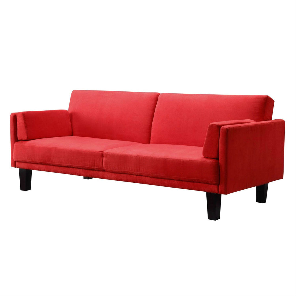 Contemporary Mid-Century Style Sofa Bed In Red Microfiber Upholstery