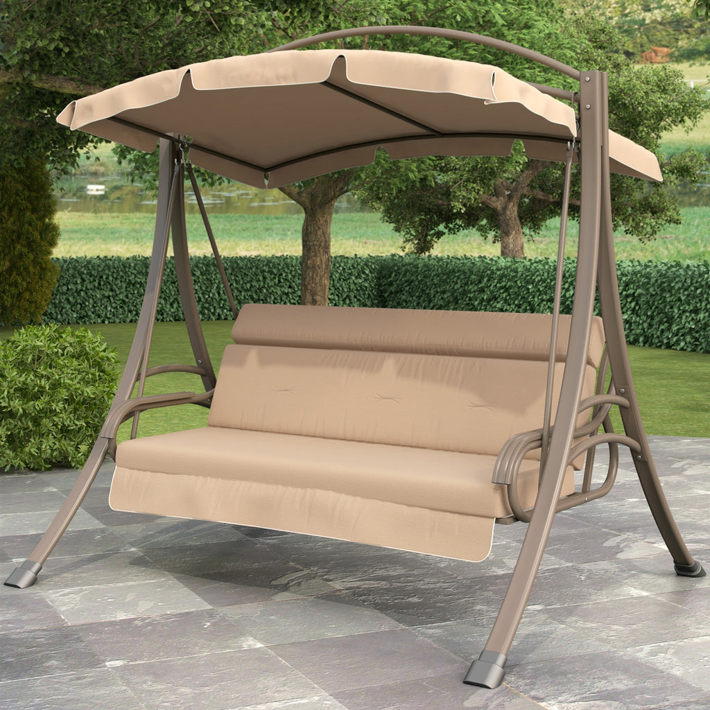 3-Person Outdoor Porch Swing with Canopy in Beige Tan Brown