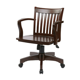 Espresso Wood Bankers Chair with Wooden Arms and Seat