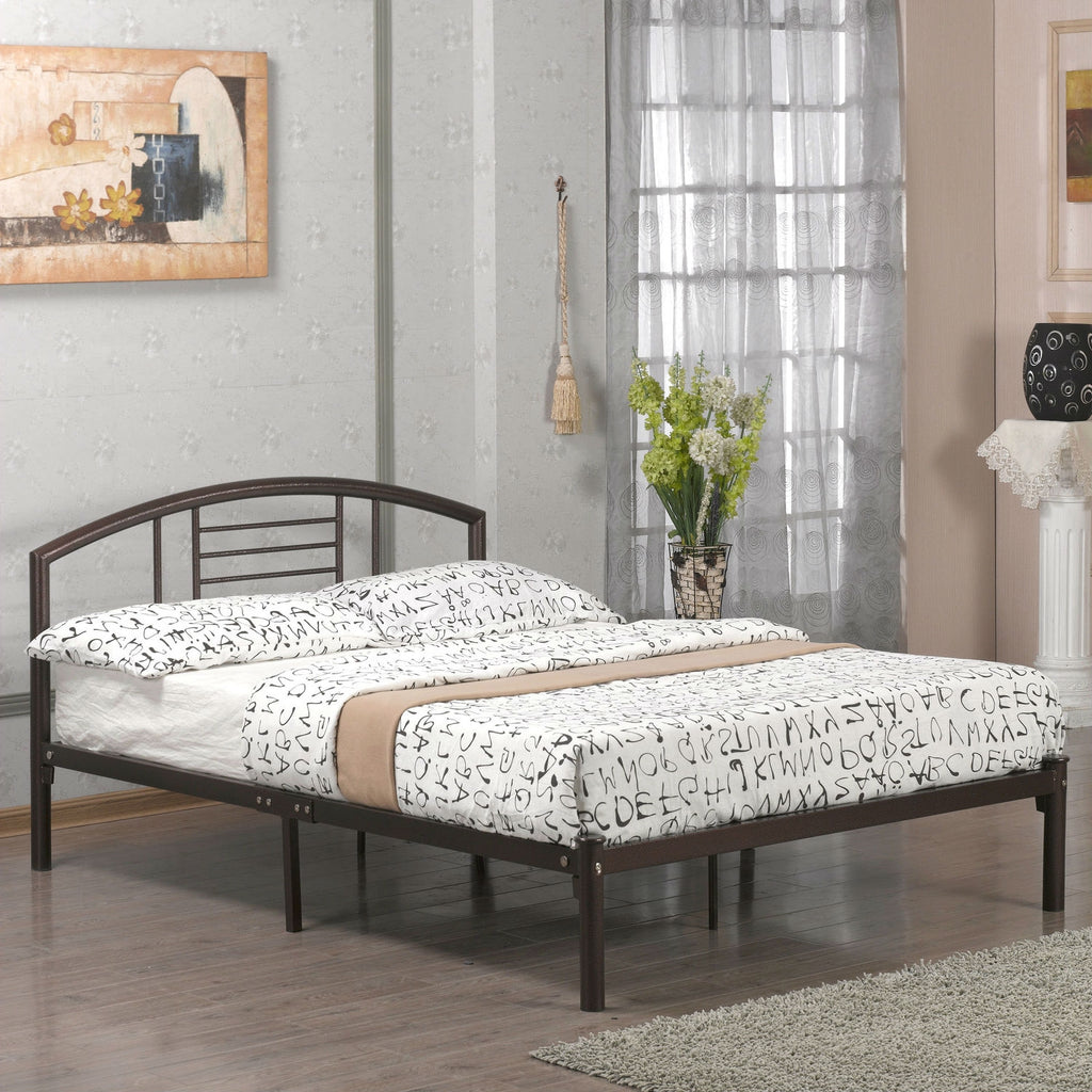 Full size Platform Metal Bed Frame with Headboard in Bronze Finish