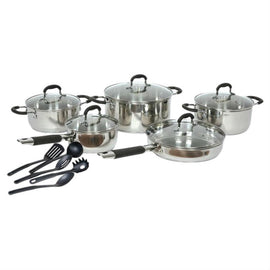 15-Piece Stainless Steel Cookware Set with Nylon Utensils - G Street Furniture Rockville Free delivery maryland dc virginia