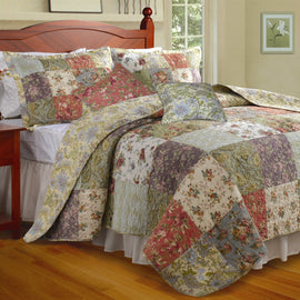 King size 100% Cotton Floral Quilt Set with 2 Shams and 2 Pillows