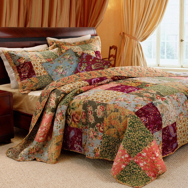 King 100% Cotton Floral Paisley Quilt Set w/ 2 Shams & 2 Pillows