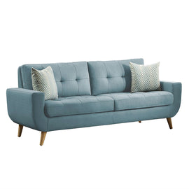 Modern Teal Fabric Upholstered Mid-Century Style Sofa Couch with 2 Throw Pillows