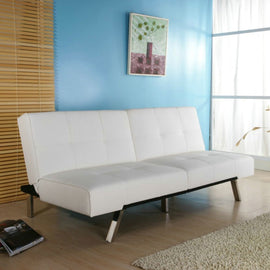 White Leatherette Futon Sofa Bed with Chrome Metal Legs