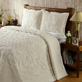 Queen size 100-Percent Cotton Chenille Bedspread with Tufted Scrolls in Ivory