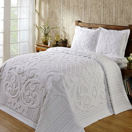 King size 100-Percent Cotton Chenille Bedspread in White