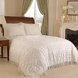 King size 100% Cotton Chenille Bedspread in Ivory with 2 Standard size Pillow Shams