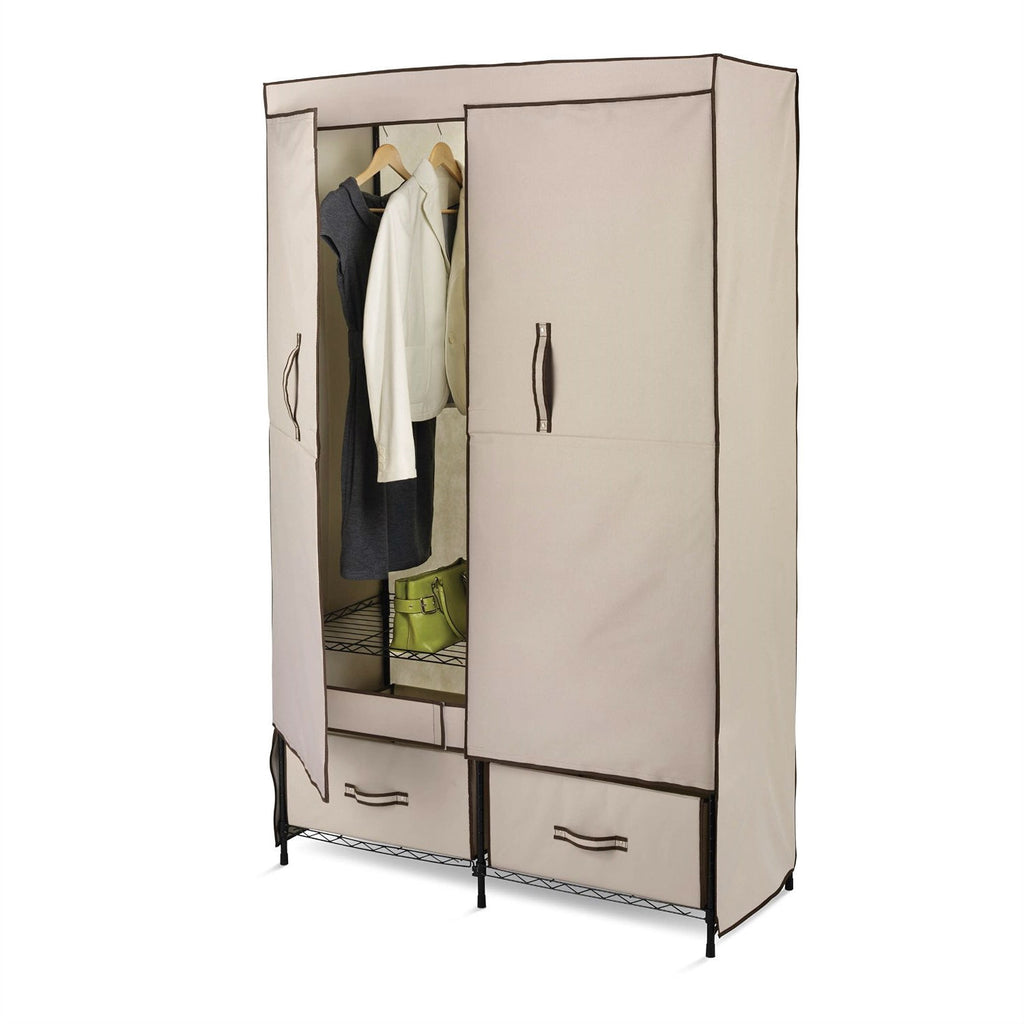 43-inch Tan Portable Closet Clothes Organizer Wardrobe - G Street Furniture Rockville Free delivery maryland dc virginia