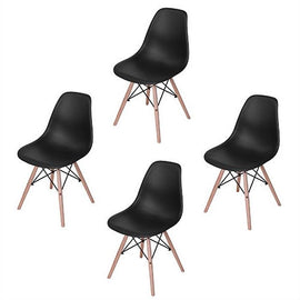 Set of 4 Modern Armless Dining Chairs in Black with Wood Legs