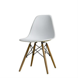 Modern Ergonomic Armless Side Dining Chair in White with Wood Legs