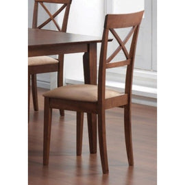 Set of 2 - Walnut Finish Cross Back Dining Chairs with Fabric Seat