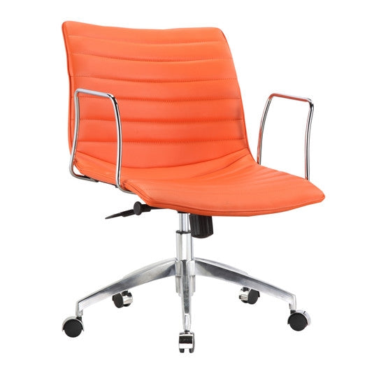 Orange Modern Mid Back Office Chair Mid Century Style With Metal Arms