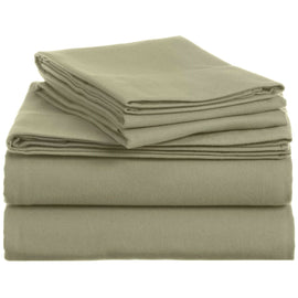 Queen 100-Percent Cotton Velvet Flannel Sheet Set in Thyme Green