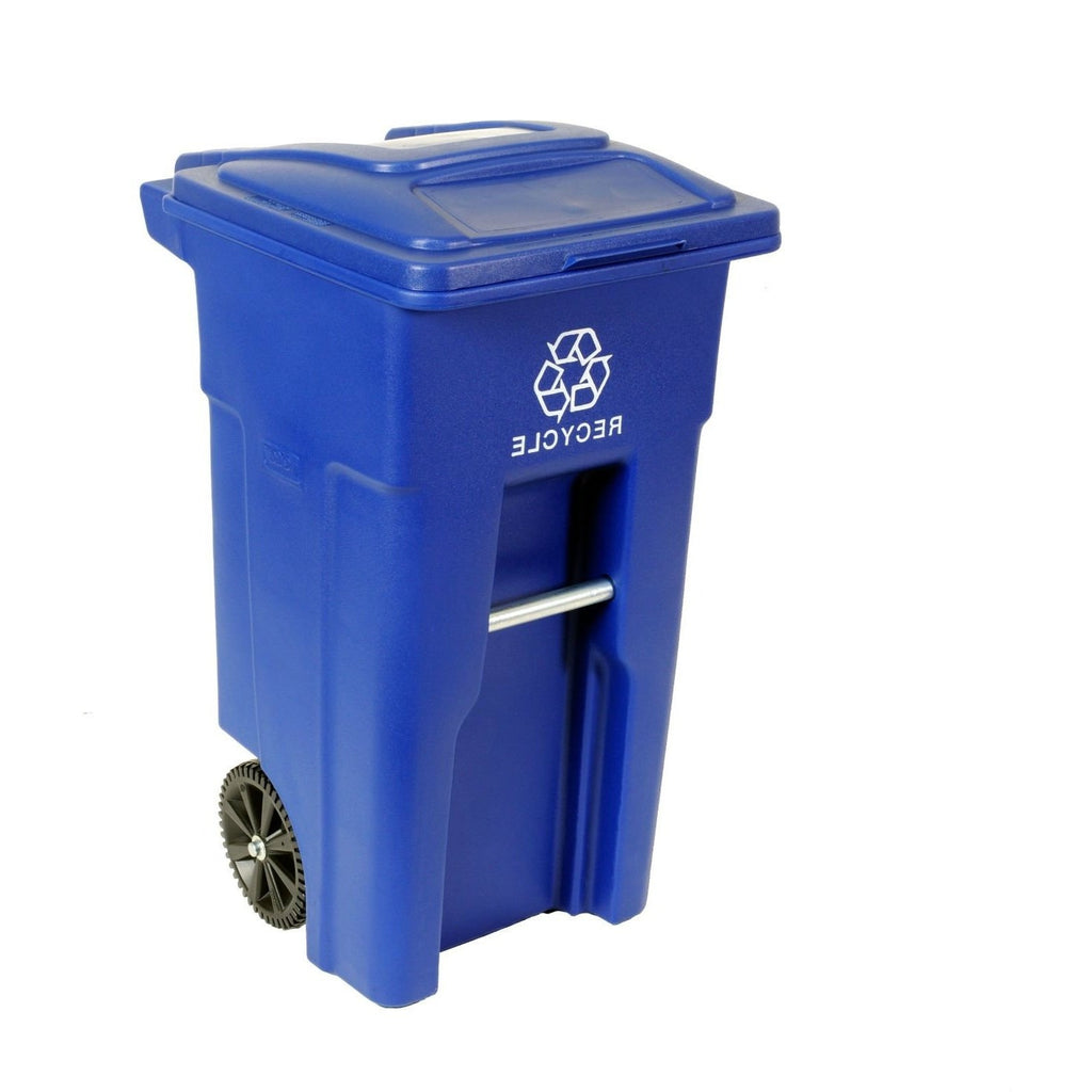 32 Gallon Blue Commercial Heavy-Duty Rollout Recycler Trash Can Container - G Street Furniture Rockville Free delivery maryland dc virginia