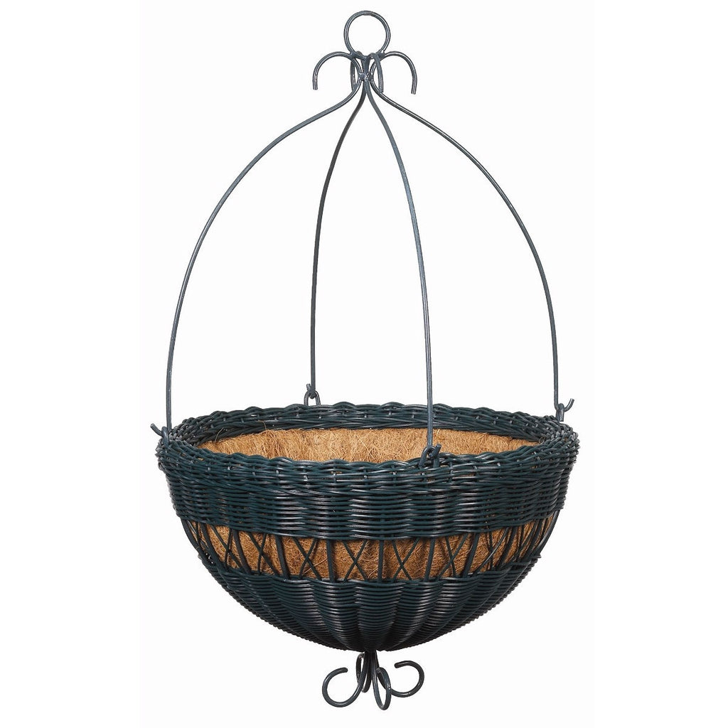 16-inch Hunter Green Resin Wicker Hanging Planter with Coco Fiber Liner