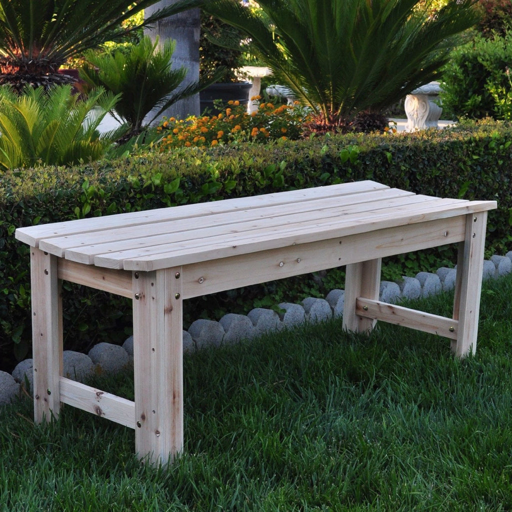 5-Ft Backless Garden Bench in Natural Yellow Cedar Wood