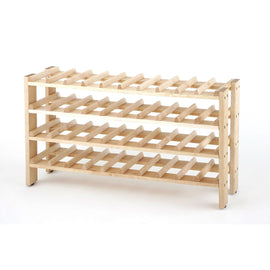 4-Shelf 40-Bottle Wine Rack in Solid Birchwood