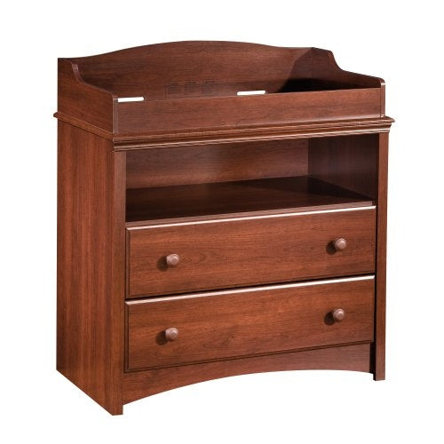 2-Drawer Changing Table with Open Shelf in Royal Cherry Finish