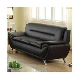 Stylish Living Room Modern Black Faux Leather Sofa Medium Firm