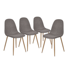 Set of 4 - Modern Mid Century Style Grey Fabric Cushion Dining Chairs - G Street Furniture Rockville Free delivery maryland dc virginia