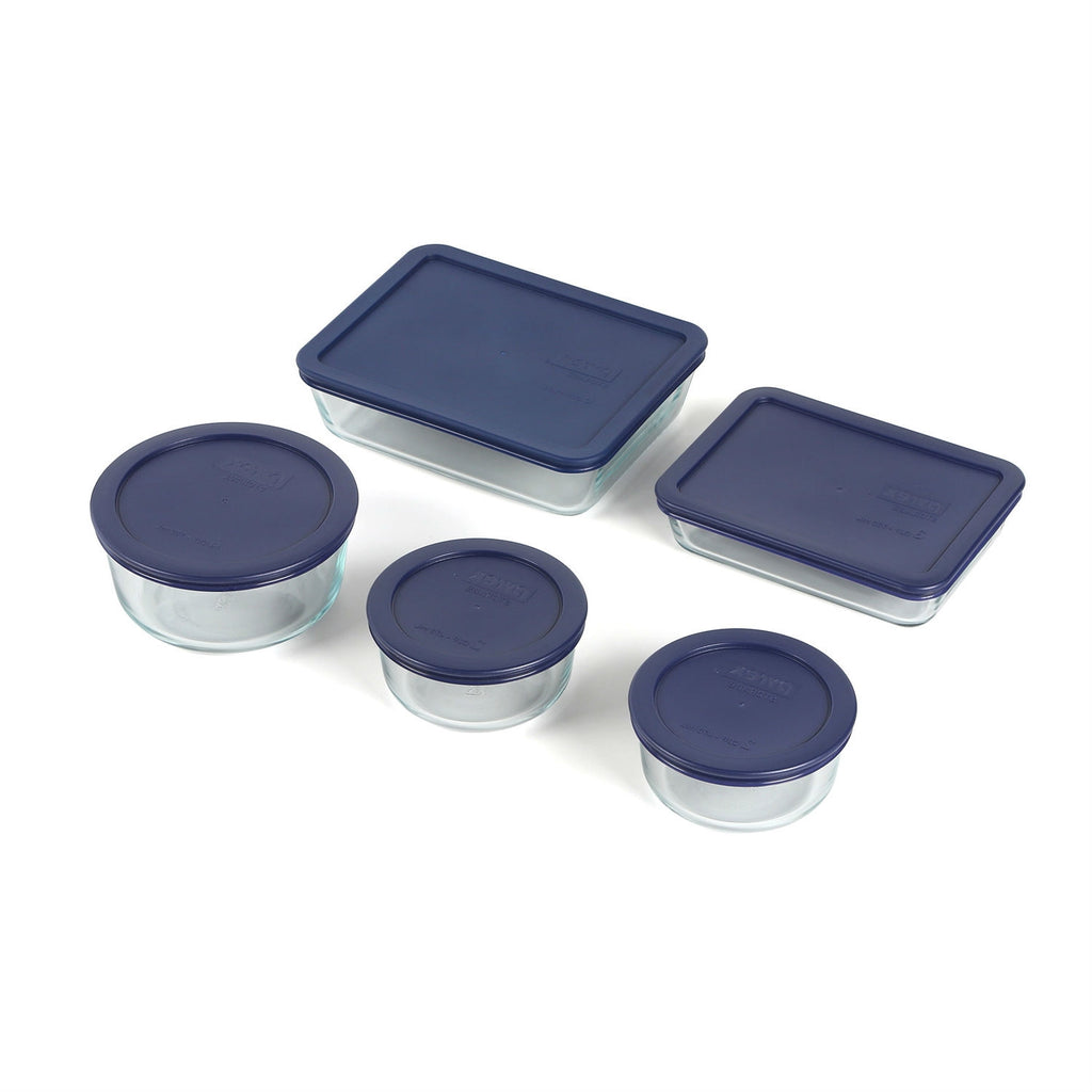 10 Piece Glass Bakeware Set with Blue Lids - Oven Microwave Dishwasher Freezer Safe