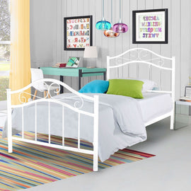 Twin size Metal Platform Bed Frame with Headboard and Footboard in White