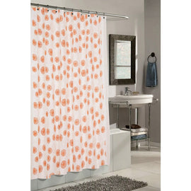 Tangerine Ivory Floral Circles Polyester Fabric Shower Curtain
