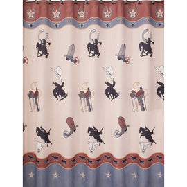 Texas Rodeo Longhorn Star Boots Cowboy Style Fabric Shower Curtain
