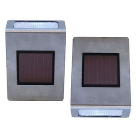 Pack of 2 Stainless Steel Wall Mounted Solar LED Lights