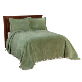 Twin size Sage Green Cotton Chenille Bedspread with Fringe Edge