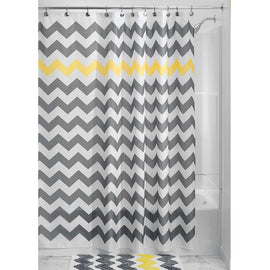 Grey Yellow White Chevron Zig Zag Stripe 72 Inch Shower Curtain