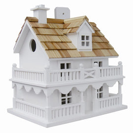 White Cottage Style Wood Birdhouse with unpainted Nest Box Bird House