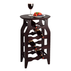 8-Bottle Oval Wine Rack Side Table in Espresso