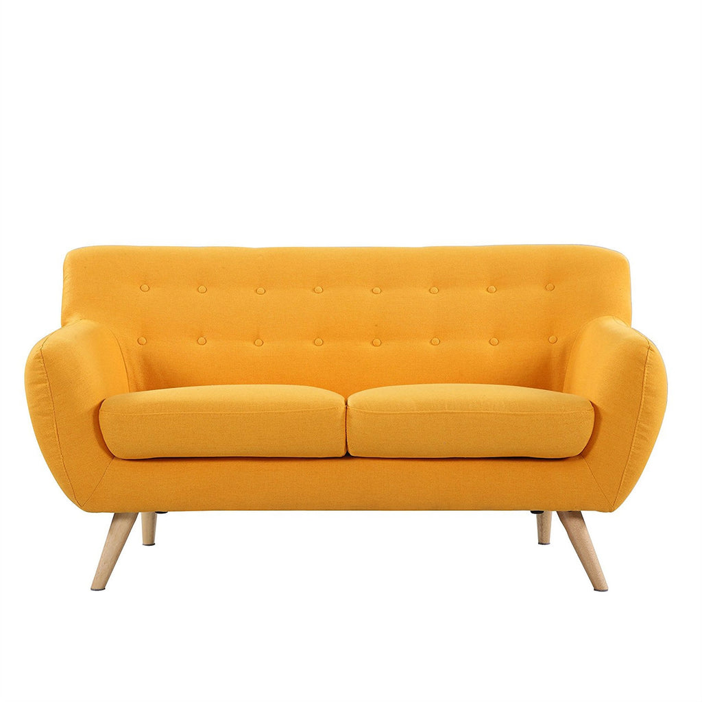 Yellow linen upholstered modern mid century style sofa for Mid century modern upholstered chair