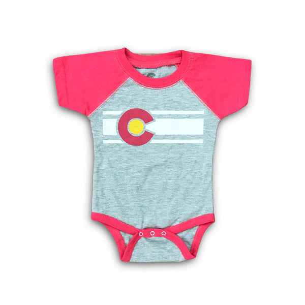 Colorado Flag Onesie in Heather/Deep Pink