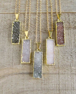 Kuka natural retangle druzy grey necklace - Uli Uli Jewelry