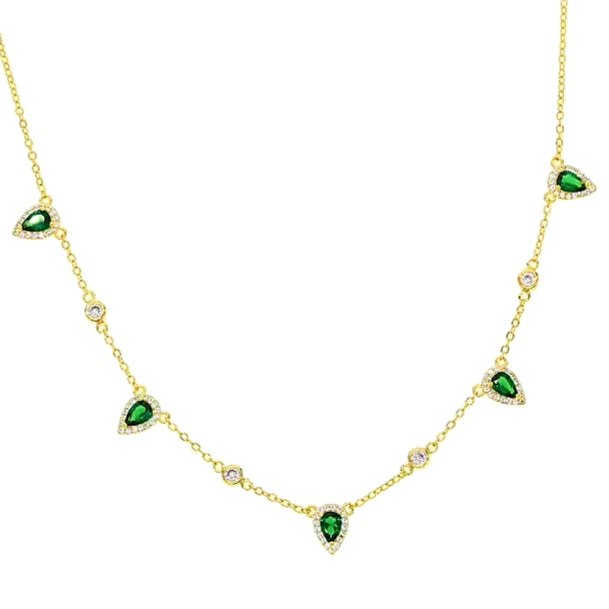 Green triangle crystal choker