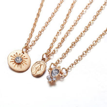 Star crystal coin layered necklace
